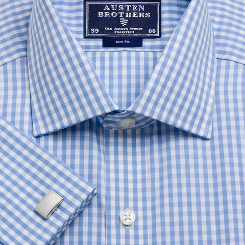 Made 2 Order - Sky Bold Check Poplin