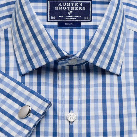 Made 2 Order - Blue & Navy Buckingham Check Poplin
