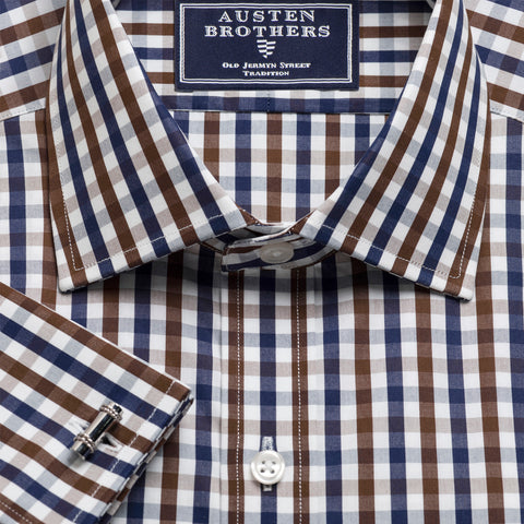 Made 2 Order - Chocolate & Navy Check Poplin NEW COLLECTION