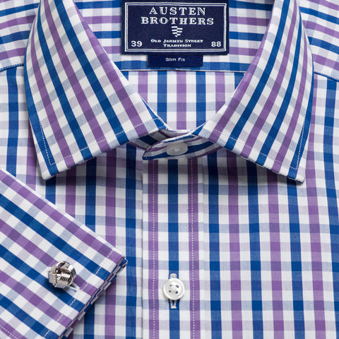 Made 2 Order - Purple & Navy Buckingham Check Poplin