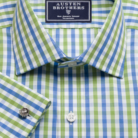 Made 2 Order - Green & Blue Buckingham Check Poplin NEW COLLECTION