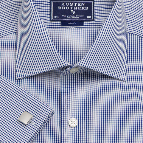 Made 2 Order - Check Edinburgh Navy Poplin