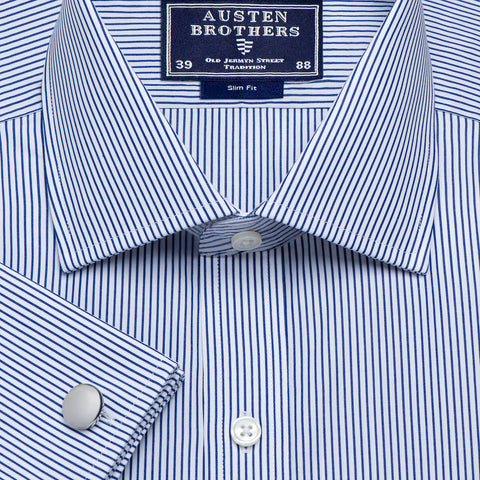Made 2 Order - Stripe Navy Edinburgh Poplin