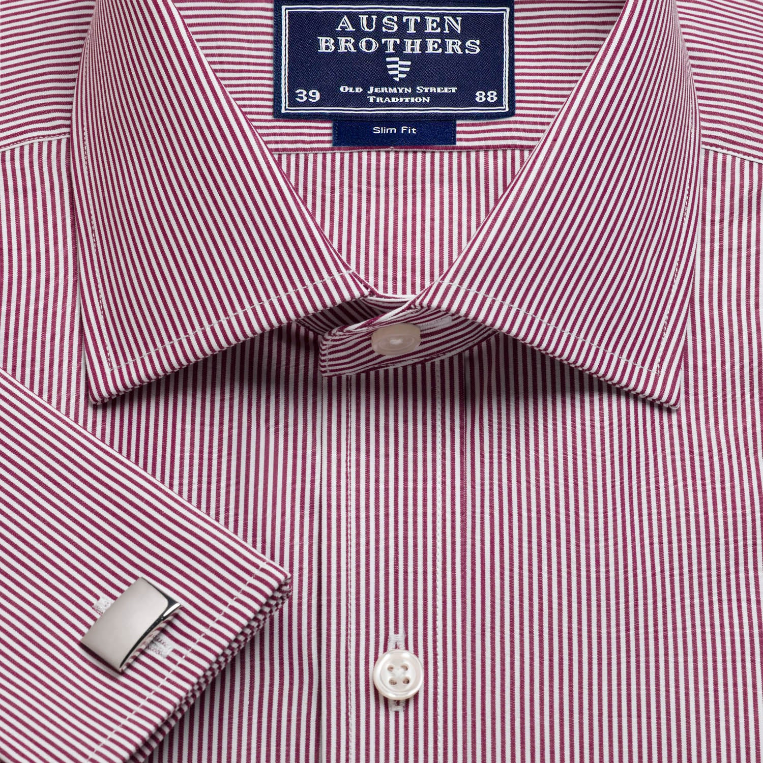 55e6031915 Made 2 Order - Burgundy French Bengal Stripe Poplin | Austen Brothers