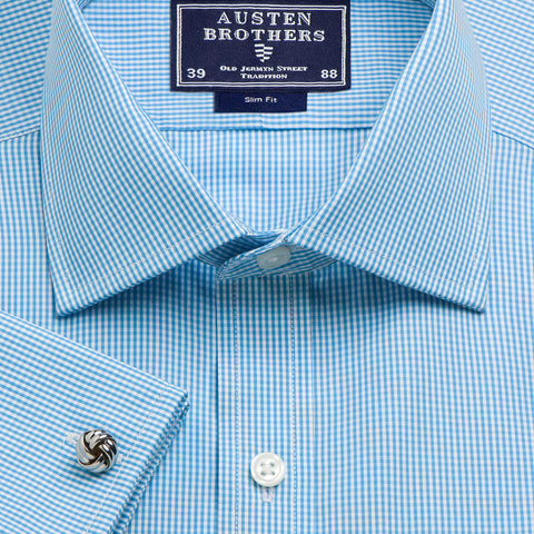 Made 2 Order - Check Aqua Gingham Poplin