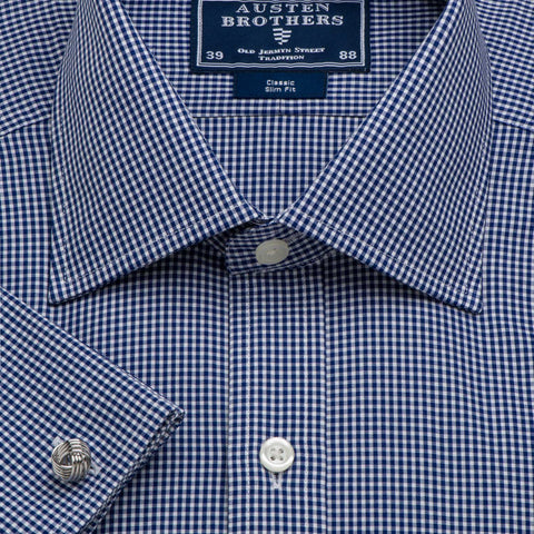 Made 2 Order - Check Navy Gingham Poplin