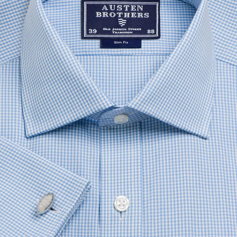Made 2 Order - Sky Gingham Check Poplin