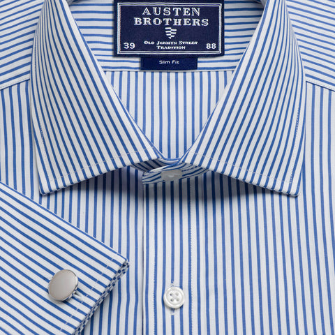 Made 2 Order - Blue Knightsbridge Stripe Poplin