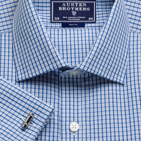 Made 2 Order - Navy Kensington Check Poplin