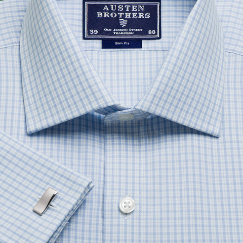 Made 2 Order - Sky Kensington Check Poplin