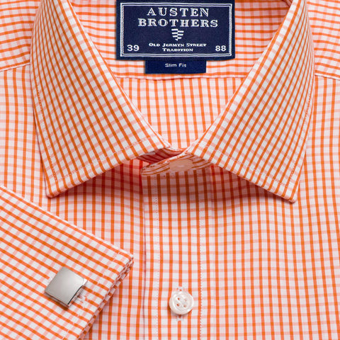 Made 2 Order - Orange Knightsbridge Check Poplin