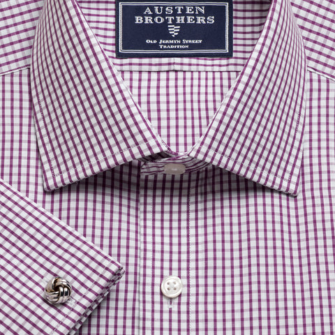 Made 2 Order - Purple Knightsbridge Check Poplin NEW COLLECTION