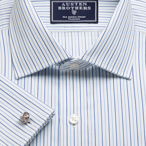 Made 2 Order - Blue & Navy Marylebone Stripe Twill NEW COLLECTION