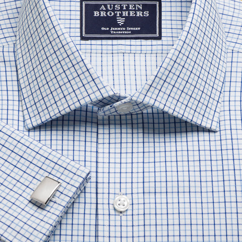 Made 2 Order - Blue & Navy Marylebone Check Twill NEW COLLECTION