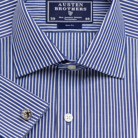 Made 2 Order - Stripe Navy Mayfair Poplin