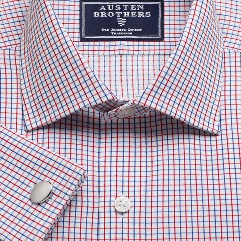 Made 2 Order - Red & Navy Marylebone Check Twill NEW COLLECTION