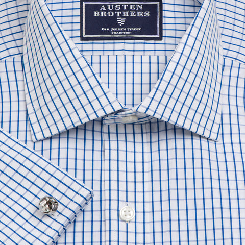 Made 2 Order - Blue Piccadilly Check Poplin NEW COLLECTION