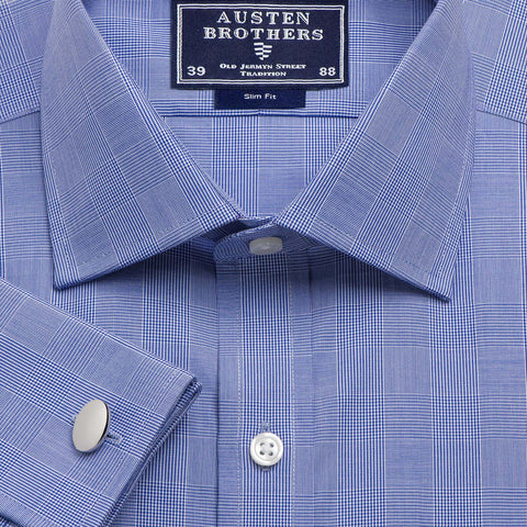 Made 2 Order - Navy Large Prince of Wales Check Poplin