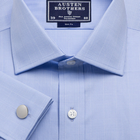 Made 2 Order - Sky Large Prince Of Wales Check Poplin