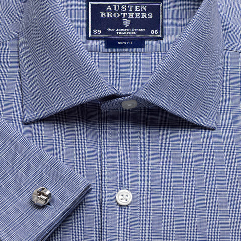 Made 2 Order - Navy Prince of Wales Check Twill