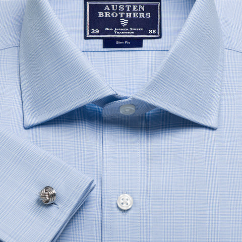 Made 2 Order - Sky Prince of Wales Check Twill