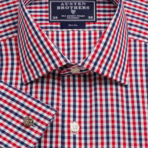 Made 2 Order - Red & Navy Buckingham Check Poplin
