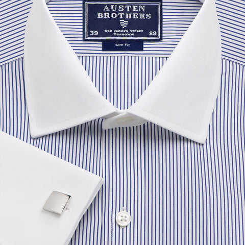 Made 2 Order - Stripe Oxford Winchester Navy Poplin