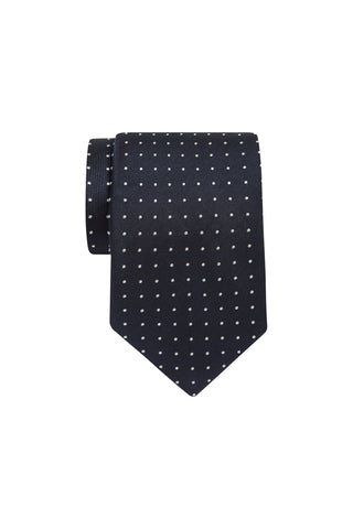 Tie - Navy with Pewter Pin Dot
