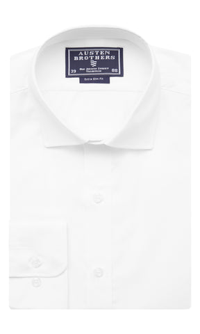 SALE SHIRTS - Solid White Poplin Shirt - Extra Slim Fit