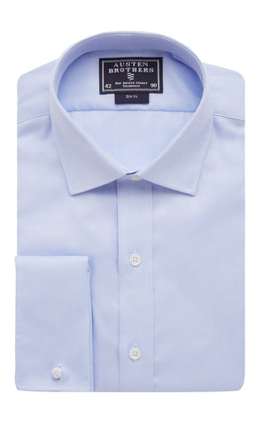 SALE SHIRTS - Sky Royal Herringbone Twill Shirt - Slim Fit