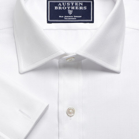 NON IRON Made 2 Order - Royal Herringbone White Royal Twill Shirt