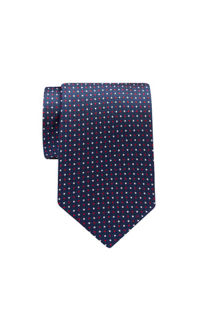 TIE – Navy Red White Dot Pattern