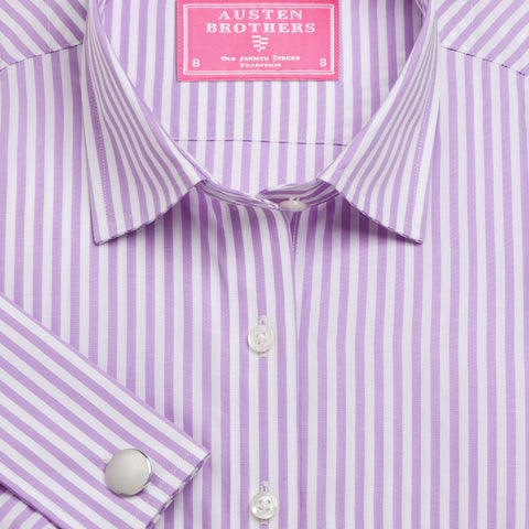 Made 2 Measure - Lilac Bengal Stripe Poplin