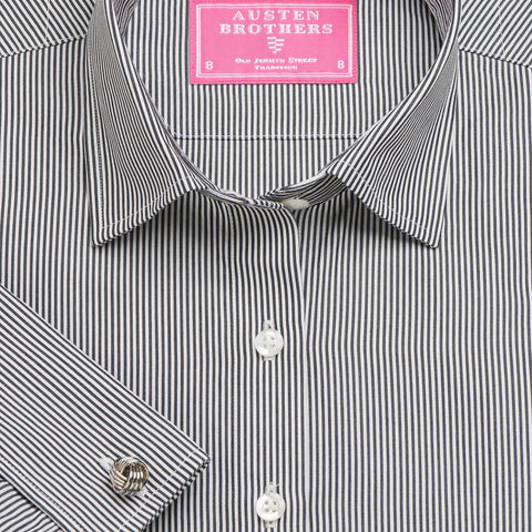 Made 2 Order - Black French Bengal Stripe Poplin