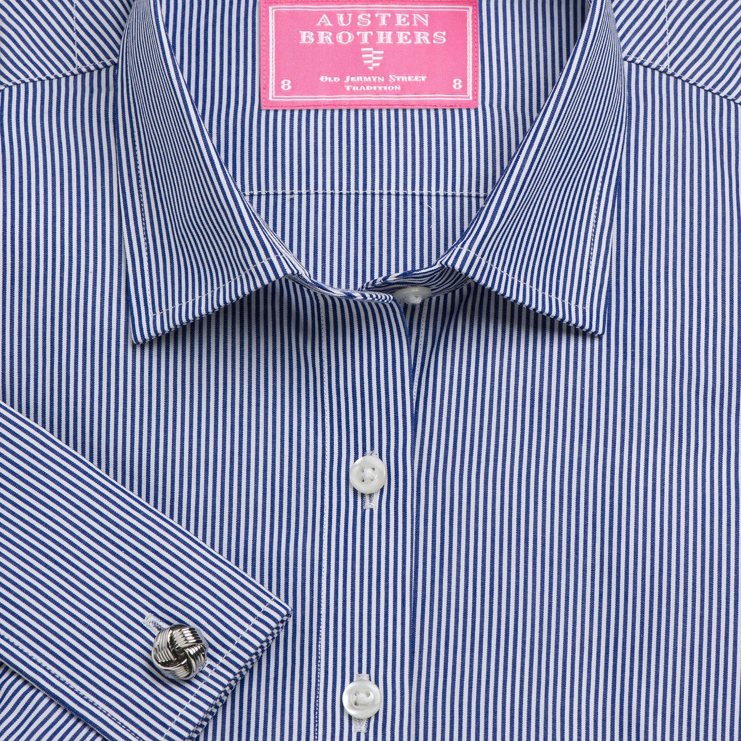 35b581a041 Made 2 Order - Navy French Bengal Stripe Poplin | Austen Brothers