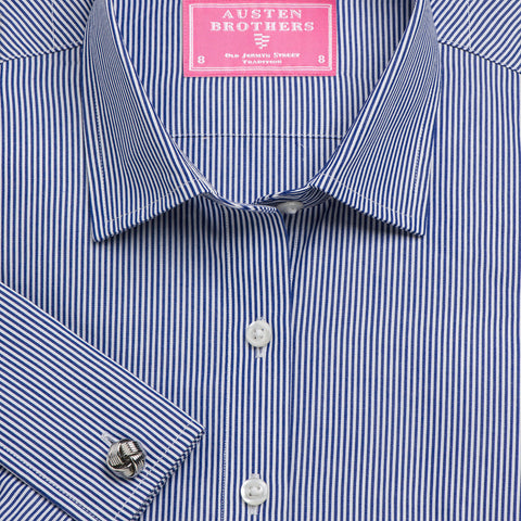 Made 2 Order - Navy French Bengal Stripe Poplin