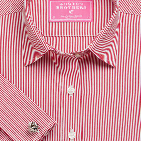 Made 2 Measure - Red French Bengal Stripe Poplin