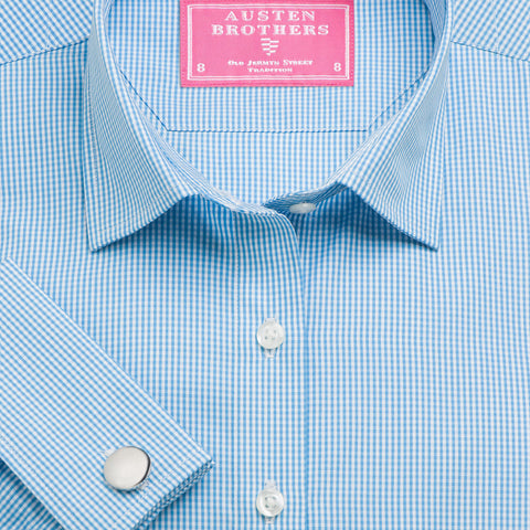 Made 2 Order - Aqua Gingham Check Poplin