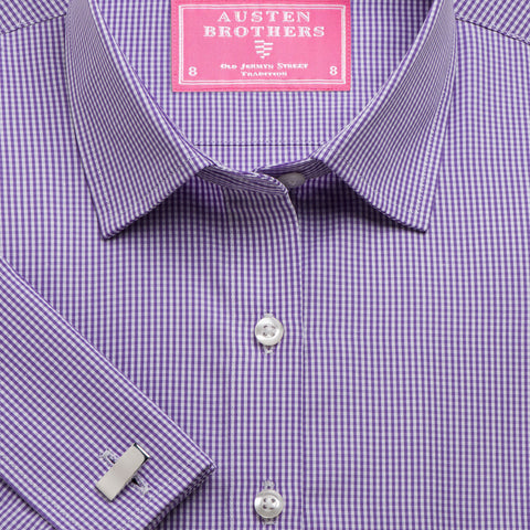 Made 2 Measure - Purple Gingham Check Poplin