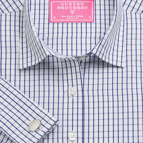 Made 2 Order - Navy Piccadilly Check Poplin