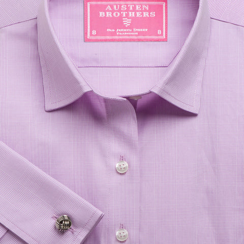 Made 2 Order - Lilac Large Prince of Wales Check Poplin