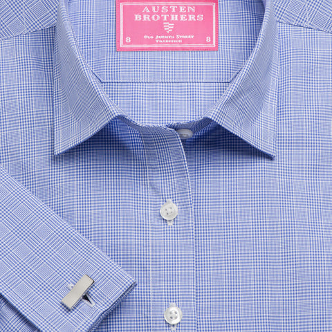 Made 2 Order - Blue Prince of Wales Check Poplin