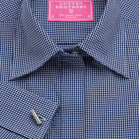 Women's Navy Gingham Check