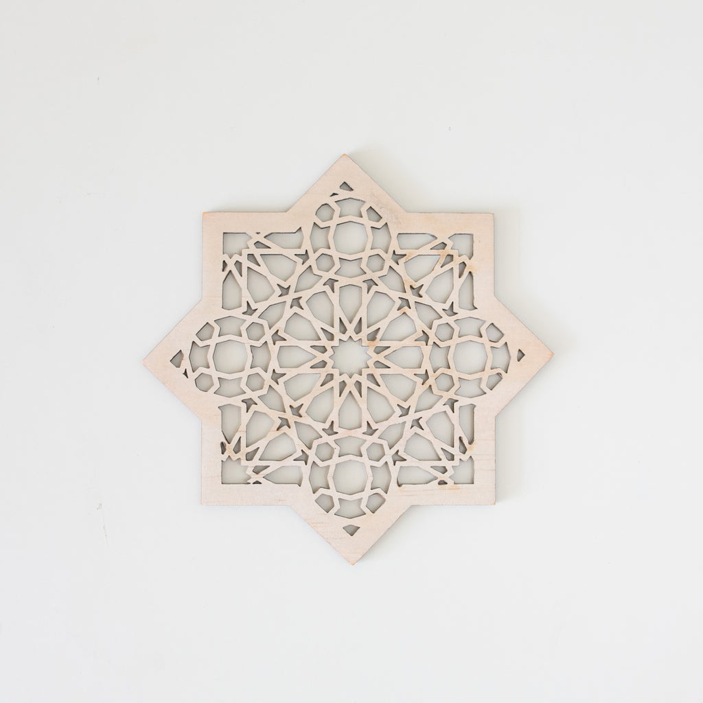 Zed&Q Islamic Product Geometric Star Wooden Decor