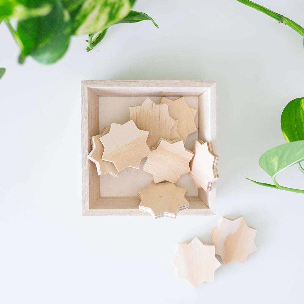 Zed&Q Islamic Product Wooden Star Shapes Wooden Stars