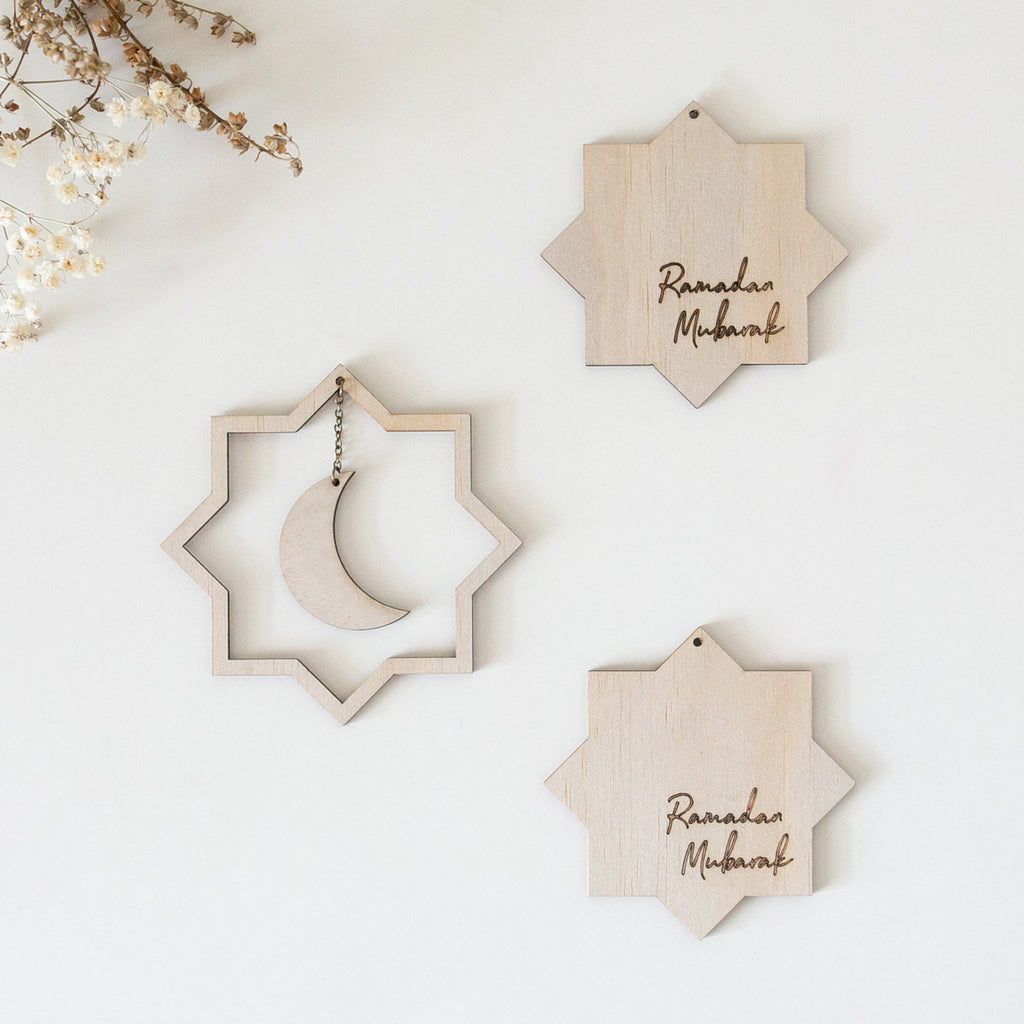 Zed&Q Islamic Product Ramadan Moon + Stars Wooden Decor