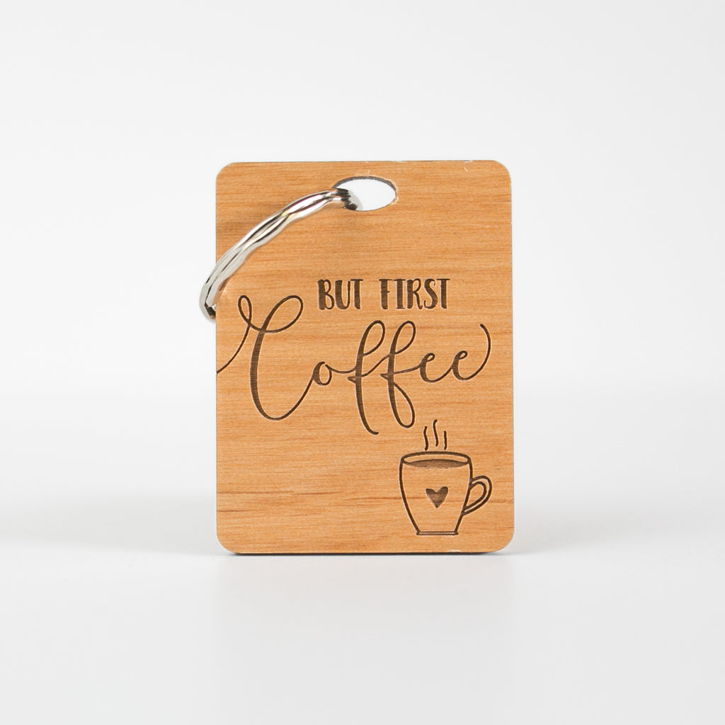 Islamic Muslim Eid Gift Decor  But First Coffee Keyring Wooden Keyring - Zed&Q