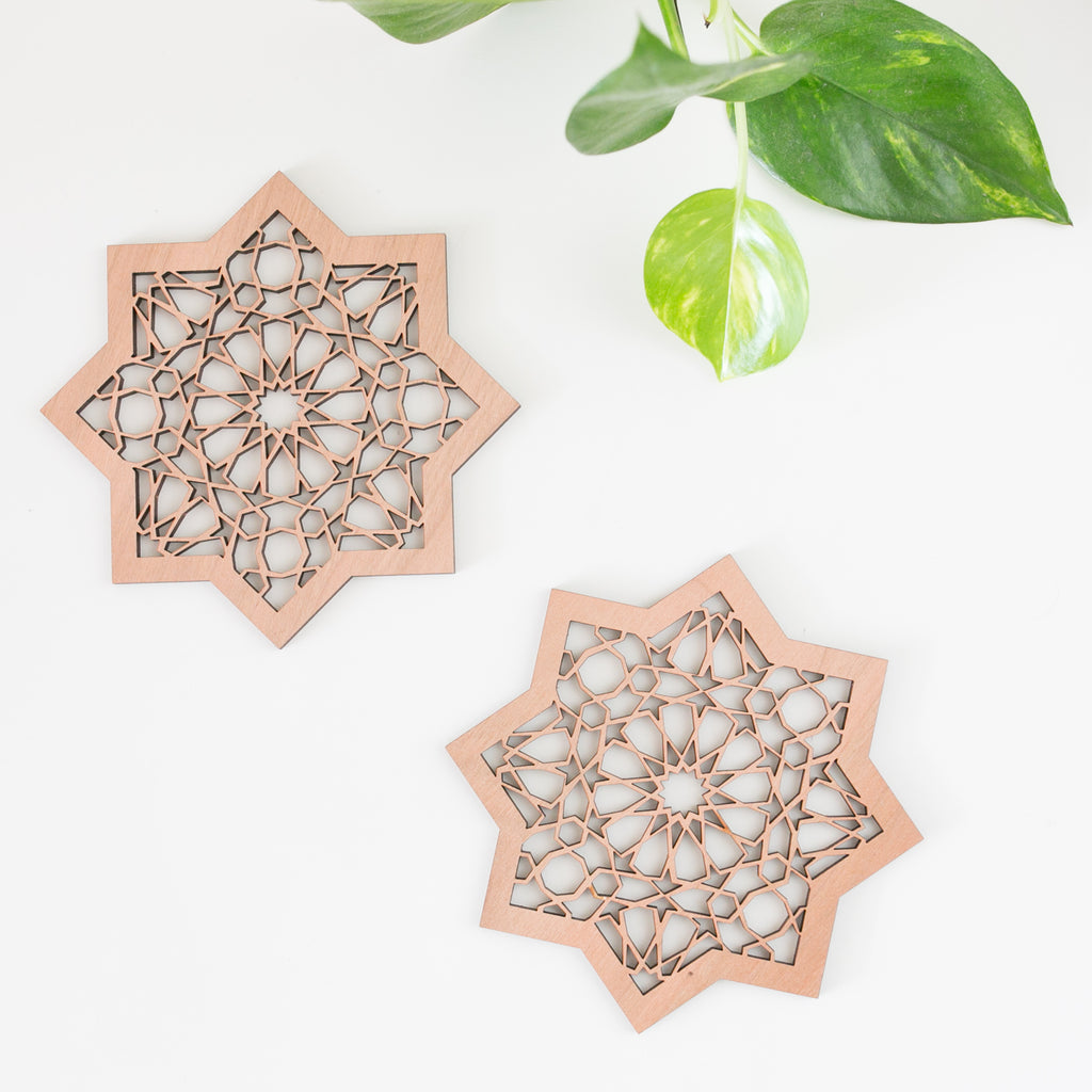 Islamic Muslim Eid Gift Decor  Geometrical Ramadan Eid Star (Walnut) Wooden Decor - Zed&Q