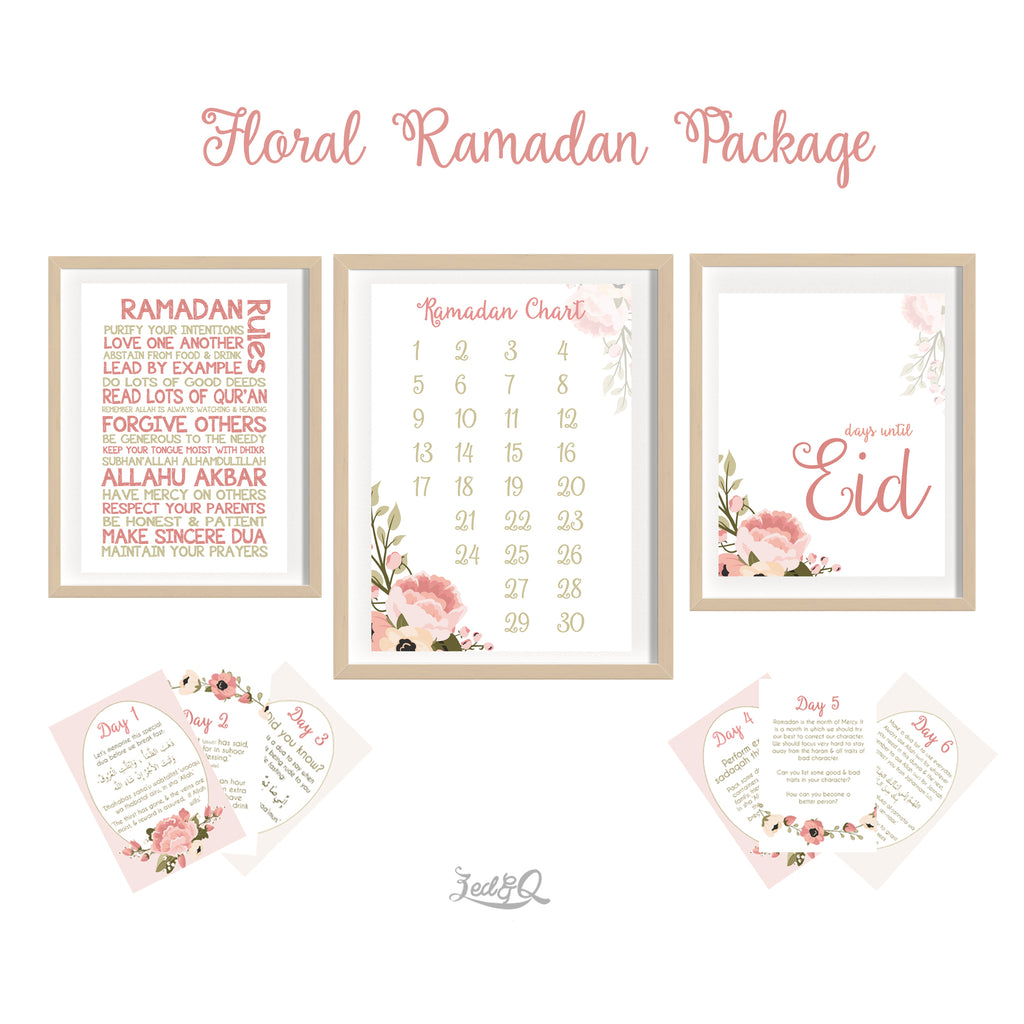 Zed&Q Islamic Product '30 Day Ramadan Activity Bundle' {Floral}  Digital Download Print