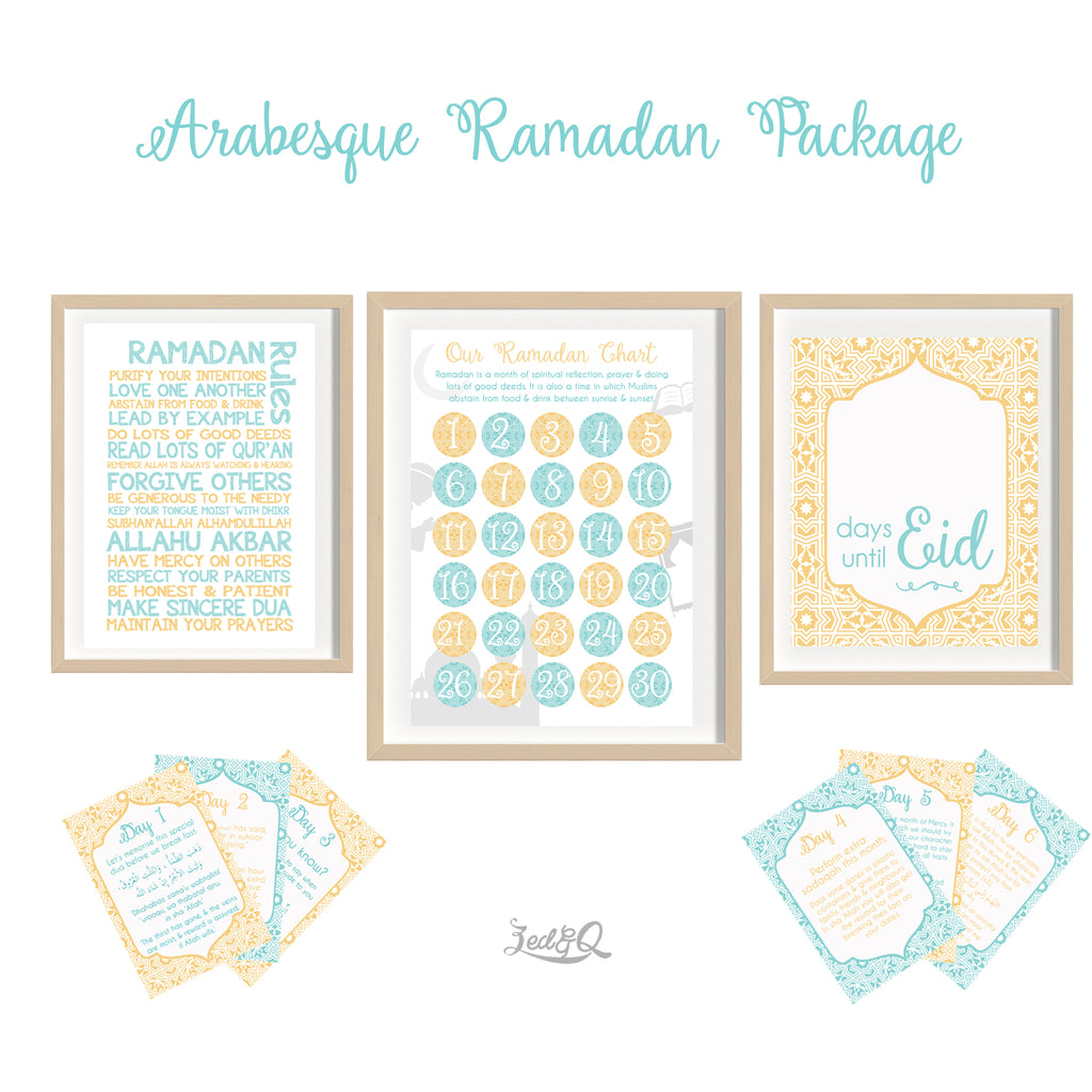 Zed&Q Islamic Product '30 Day Ramadan Activity Bundle' {Arabesque}  Digital Download Print